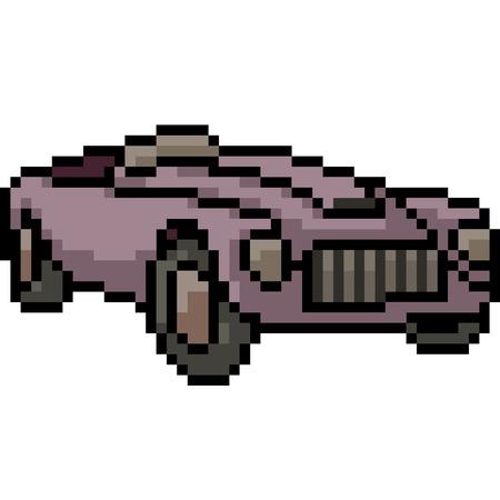 vector pixel art antique car isolated cartoon