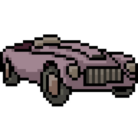 vector pixel art antique car isolated cartoon