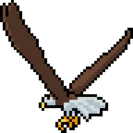 vector pixel art eagle fly isolated cartoon Illustration