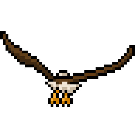 vector pixel art eagle fly back isolated cartoon