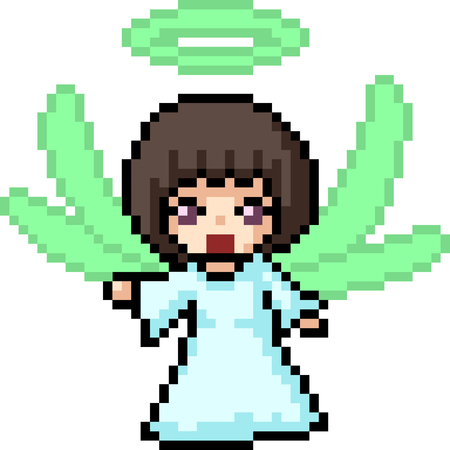 vector pixel art fairy girl isolated cartoon