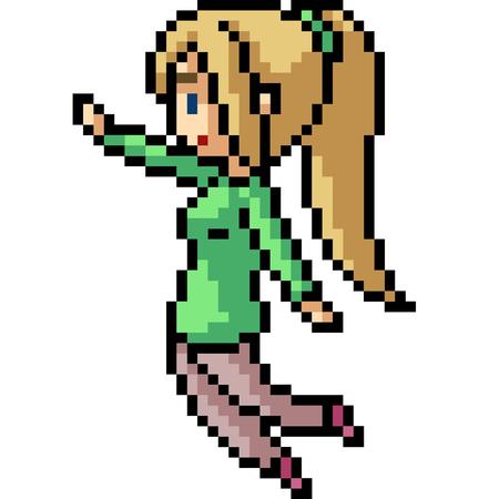 vector pixel art girl happy isolated cartoon