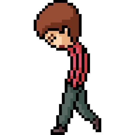 vector pixel art man sad isolated cartoon