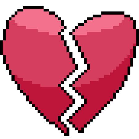 vector pixel art heart isolated cartoon
