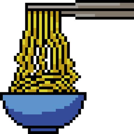 vector pixel art noodle isolated cartoon