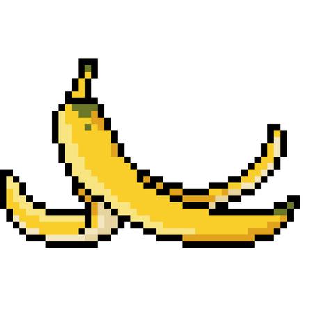 vector pixel art banana peel isolated cartoon 向量圖像