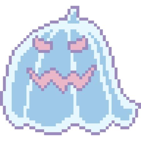 vector pixel art halloween ghost isolated cartoon