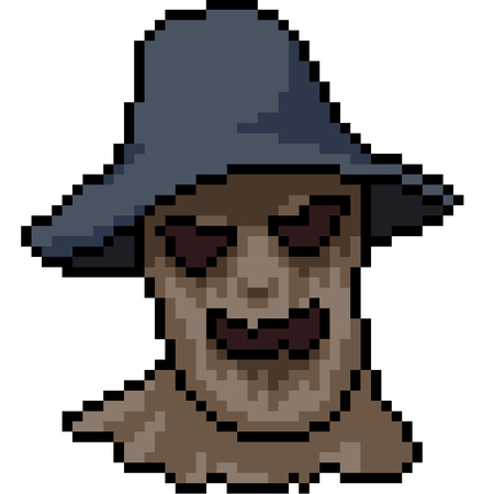 vector pixel art murderer mask isolated cartoon