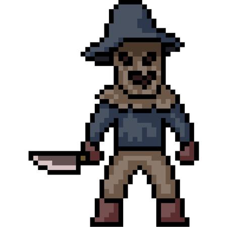 vector pixel art murderer mask isolated cartoon Illustration