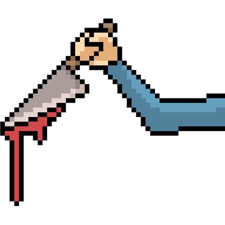 vector pixel art murderer hand isolated cartoon