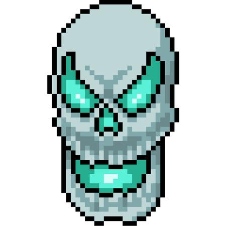 vector pixel art evil skull isolated cartoon Иллюстрация