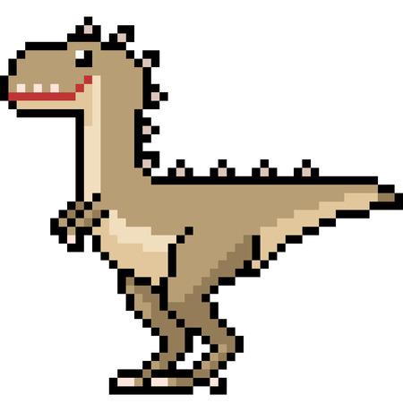 vector pixel art dinosaur monster isolated cartoon