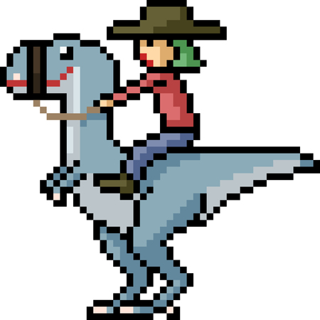vector pixel art dinosaur rider isolated cartoon