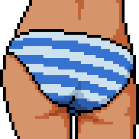 vector pixel art panty butt isolated cartoon