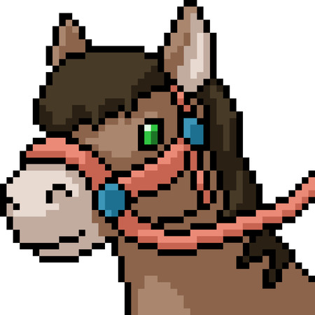 vector pixel art horse head isolated cartoon