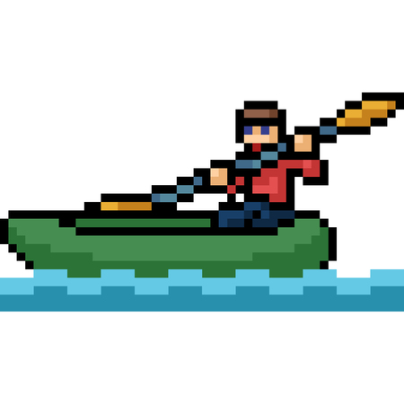 vector pixel art canoe boat isolated cartoon