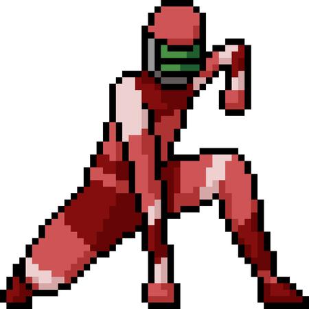vector pixel art hero pose isolated cartoon