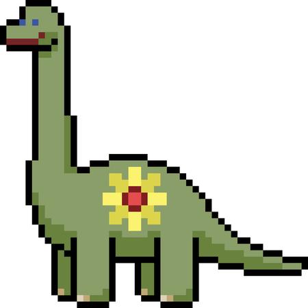 vector pixel art dinosaur kid isolated cartoon Illustration