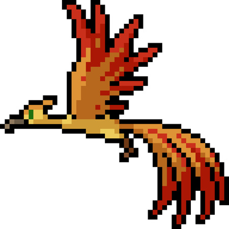 vector pixel art fantasy bird isolated cartoon
