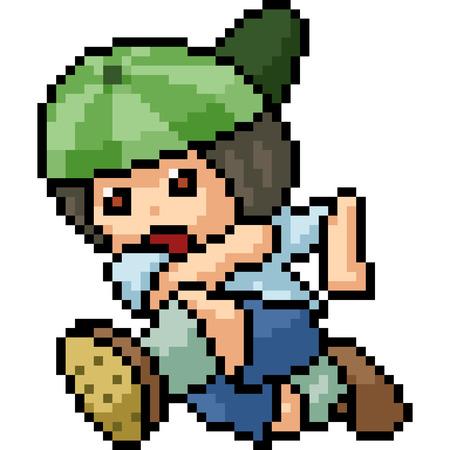 vector pixel art boy isolated cartoon