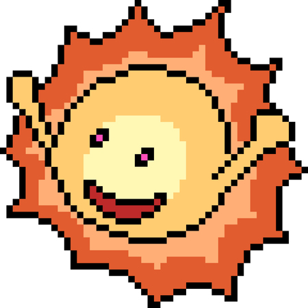 vector pixel art sun isolated cartoon 版權商用圖片 - 127386066