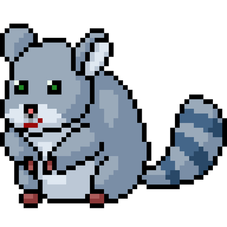 vector pixel art rodent pet isolated cartoon