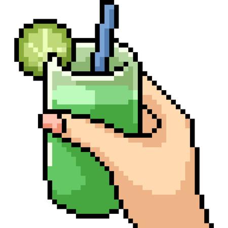 vector pixel art juice drink isolated cartoon