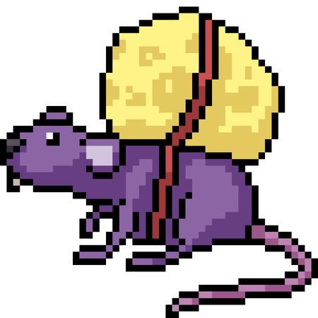 vector pixel art rat cheese isolated cartoon Vetores