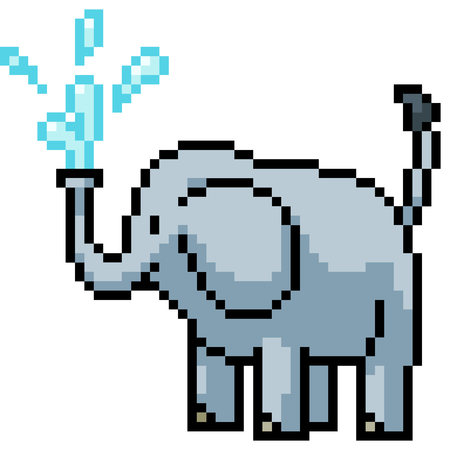 vector pixel art elephant isolated cartoon Иллюстрация