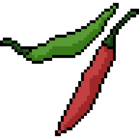 vector pixel art chili isolated cartoon