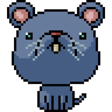 vector pixel art rat isolated cartoon