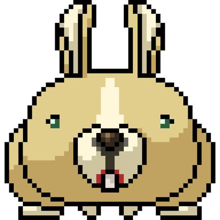 vector pixel art rabbit isolated cartoon