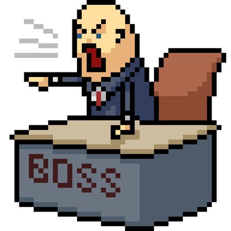 vector pixel art boss yell isolated cartoon