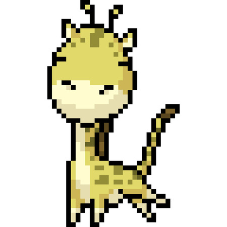 vector pixel art giraffe isolated cartoon