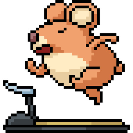 vector pixel art hamster run isolated cartoon