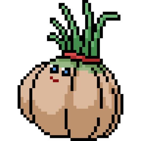 vector pixel art onion head isolated cartoon Ilustração