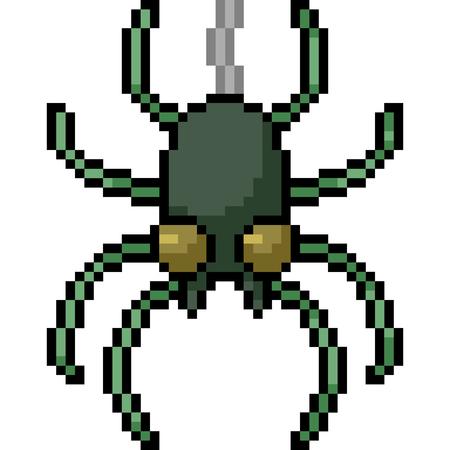 vector pixel art spider isolated cartoon 向量圖像