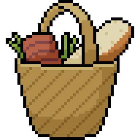 vector pixel art shopping bag isolated cartoon Иллюстрация