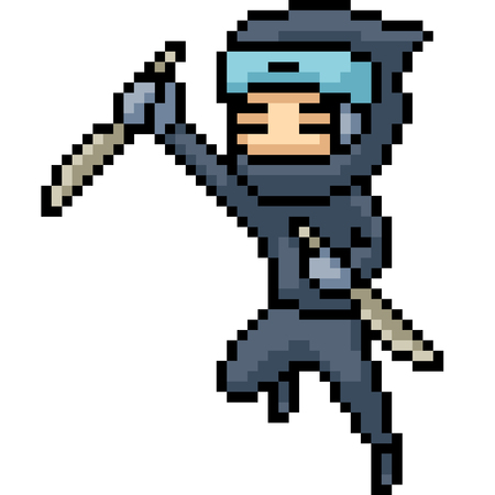 vector pixel art ninja isolated cartoon