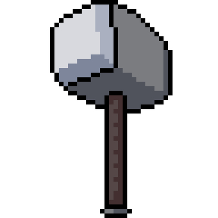 vector pixel art iron hammer isolated cartoon Çizim