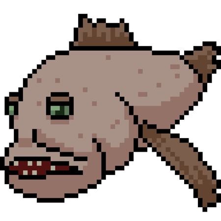 vector pixel art ugly fish isolated cartoon