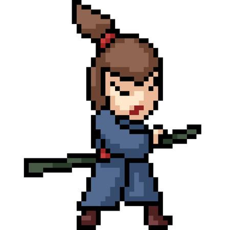 vector pixel art samurai kid isolated cartoon Vektoros illusztráció