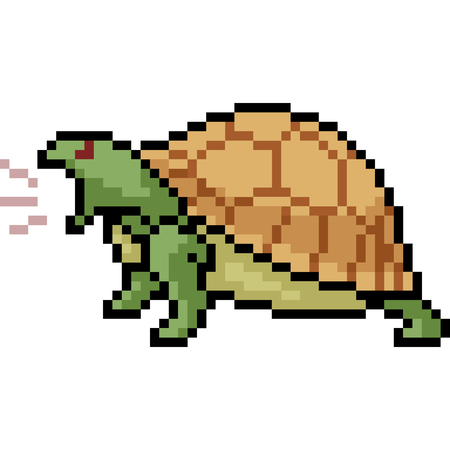 vector pixel art turtle roar isolated cartoon