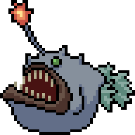 vector pixel art anglerfish isolated cartoon