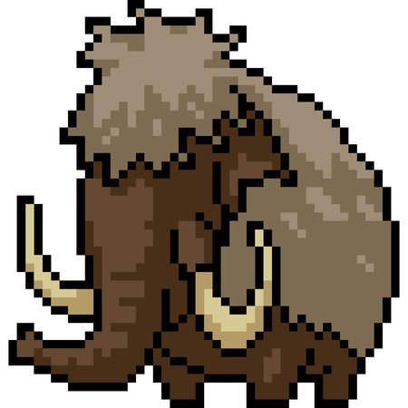 vector pixel art mammoth isolated cartoon