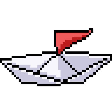 vector pixel art paper boat isolated cartoon Çizim