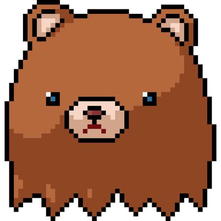 vector pixel art bear head isolated cartoon