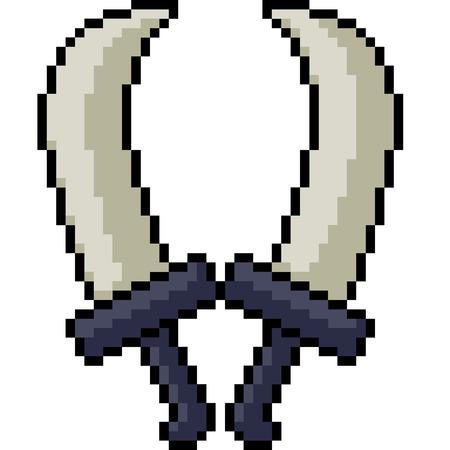 vector pixel art dual blades isolated cartoon