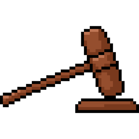 vector pixel art hammer judge isolated cartoon