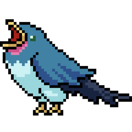vector pixel art bird roar isolated cartoon Çizim